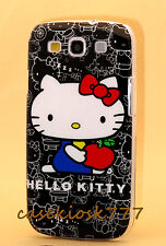 for Samsung galaxy S3 cute hello kitty cell phone black white case cover S III