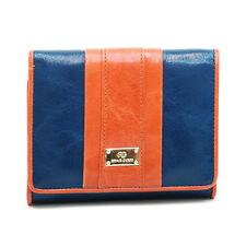New Anais Gvani Women's Petite Tri-fold Genuine Leather Wallet Bag Blue/Orange
