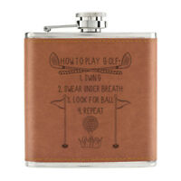 How To Play Golf 6oz PU Leather Hip Flask Tan - Dad Father's Day Sport