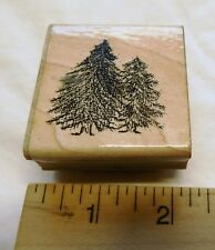 """Pine Trees Wood Mount Rubber Stamp DOTS Vintage 2 x 2"""""""