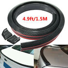 Flexible 1.5M Carbon Fiber Car Rear Roof Trunk Spoiler Wing Lip Trim Sticker Kit