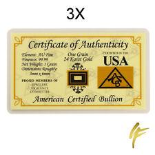 3X 1 Grain Zertifizierte Goldbarren 999,9 Feingold | Je 0,0648 Gramm Schmuck Neu