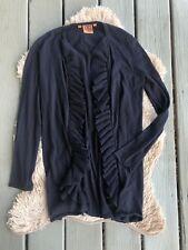 Tory Burch Cardigan Ruffle Long Sleeve Navy Blue 100% Cotton Stretch Sz S Small