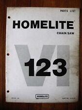 Homelite VI 123 Chain Saw Parts list