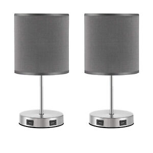 2 Pack Three Way Dimmable Touch Control Desk / Table Lamp w/ USB Hub