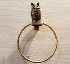 Brass Towel Napkin Ring OWL Figurine Door Hanging Wall Mount Vintage Home Decor