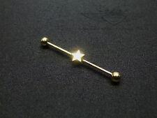 1x Industrial Piercing, Ohr, 24 Karat vergoldet, Stern, Industrial, Gold, Edel