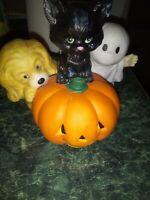 Halloween Pumpkin, Black Cat, and Ghost Ceramic Figurine