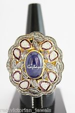 Studded Antique Look 925 Silver Ring Gorgeous Rose Cut Diamond & Blue Sapphire