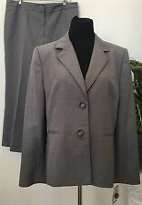 NWT Kasper Separates Women's Career Gray 100% Polyester 2 Piece Pant Suit Sz 16.