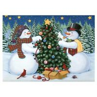 Snowman Christmas Tree DIY Full Drill Round Diamond Painting Embroidery Kit NEW