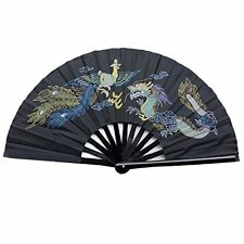 Chinese Tai Chi Martial Art Kung Fu Bamboo Dragon and Phoenix Fan Black