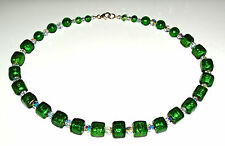 Gorgeous Green Murano Glass Cube and Crystal Necklace