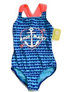 Circo Girls Blue & Hot Pink AHOY MATEY One Piece Swimsuit Size Medium