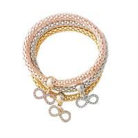 Crystal Rhinestone Bowknot Pendant Bracelet Bangle Sets Jewelry Gift