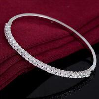 Fashion Women Silver Crystal Wristband Bangle Bracelet Cubic Zircon Chic Jewelry