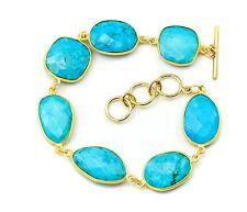 Blue Turquoise Bracelet Large Bezel Set Faceted 8 Inch Adjustable 9 Inches