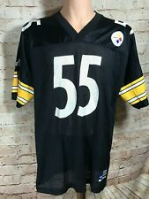 90's Adidas Pittsburgh Steelers Black Jersey Joey Porter #55 Large