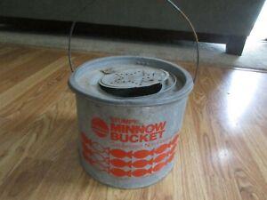 Stumpy Minnow Bucket -Vintage - Minnow Bucket & Strainer -Galvanized
