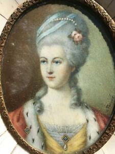 Antique Portrait Miniature of Marie Antoinette Signed by Artist m. Torqué