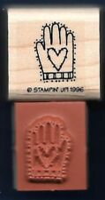 HAND STAMPED WITH LOVE PATCH sewing Lines Heart NEW Stampin' Up! RUBBER STAMP