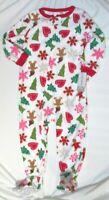 NWT Carters Toddler Girls Pajamas 24 Mos Footed Fleece Christmas Gingerbread Men