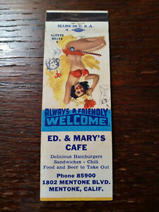 Vintage Matchcover: Ed & Mary's Cafe, Mentone, CA 78