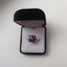 BARGAIN!  Amethyst & White Topaz Flower Design 925 Sterling Silver Ring