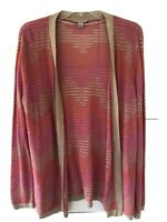 Laura Ashley NWT Women's Open Knit Pink Striped Cardigan Sweater Sz Large