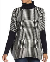 NWT JOSEPH a Womens Printed Turtleneck Sweater Black/WHITE Size S