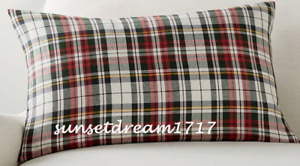 "Pottery Barn Holiday Christmas Denver Plaid Lumbar Pillow Cover -16"" x 26"" NEW"