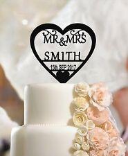 Personalizado Wedding Cake Topper Sr. & sra., Nombre Personalizado Corazón, apellido, fecha