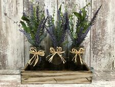 FLOWER TRAY DECOR *Wood tray with LAVENDER Flowers in 3 glass pint canning jars