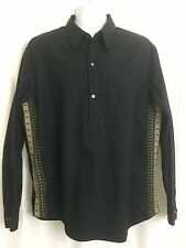 Express Mens Henley Shirt Top Black Embroidered Sides Long Sleeve Unique Sz XL