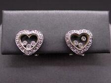 18k White Gold Round Cut Floating Diamond Heart Stud Earrings Halo Non Pierced