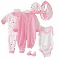 5Pcs Kids Baby Clothes Romper Bodysuit Unisex Outfit Tops +Pants+Bib+Hats