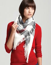 BURBERRY IVORY CHECK SQUARE WOOL SCARF