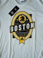 adidas Mens Boston Marathon Emblem Climalite Shirt DP5691 White Size L