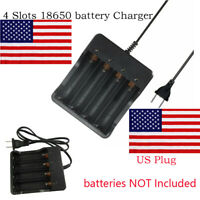 for 18650 Li-ion Battery Charger Rechargeable 4 Slots Batteries US-Plug US Ship