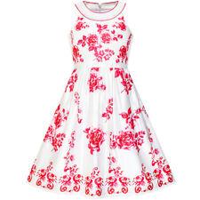 Mädchen Kleid rot Blume Halfter Fackel kleiden Prinzessin Gr. 104-158