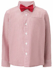 Monsoon Boy Toddler Shirt Bow Tie Set red stripe wedding christening outfit