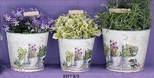 Runde Deko-Blumenübertöpfe aus Zink