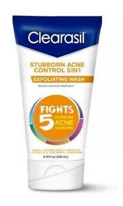 New Clearasil Stubborn Acne Control 5in1 Exfoliating Wash 6.78 Fl. Oz.
