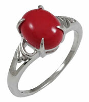 925 Pure Silver Designer Red Coral Stone Indian Women Fashion Ring Jewelry