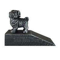 Dog Doorstop Pug Wedge Cast Iron Silver Antique Style Paper Weight Figurine