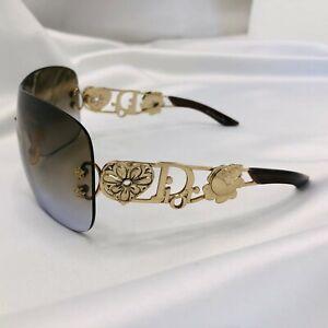 Christian Dior Sunglasses Monogram Spuns Rimless Oversized Vintage Gold Brown