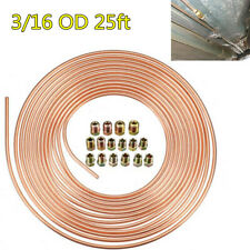 Universal 3/16 OD 25ft Roll Copper Nickel Car Brake Fuel Line Tubing +Fittings