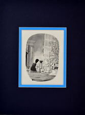 Chas ADDAMS FAMILY WEDNESDAY & PUGSLEY PLAYING w CHRISTMAS TOYS PRINT PRO MATTED