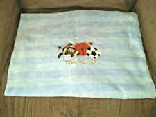 Circo Team Player Baby Blanket Sports Blue Striped Plush Base/Foot/Basketballs