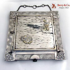 Aesthetic Triple Dresser Mirror Applied Flowers American Derby Silverplate 1888